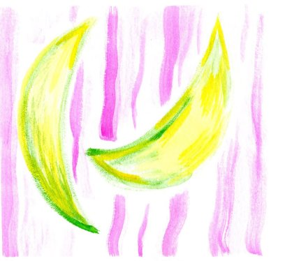 Watercolor painting of bananas