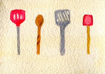 Watercolor painting of kitchen tools
