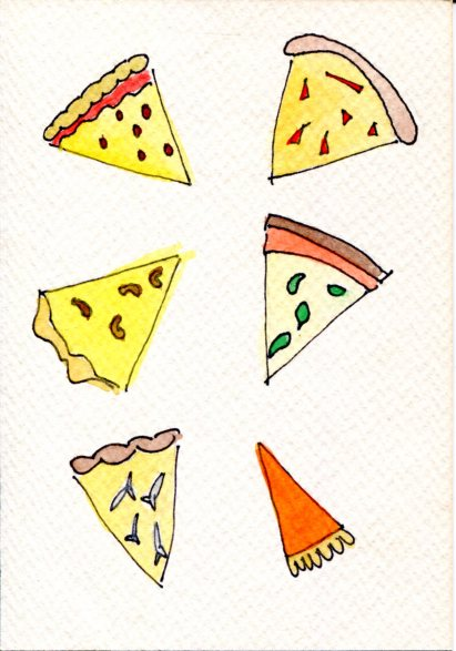 Watercolor painting of pizza