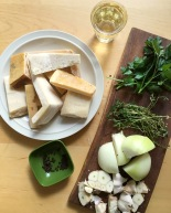 Parmesan Cheese Broth ingredients on kitchen table