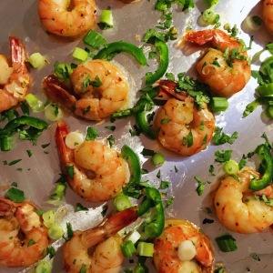 Shrimp with honey, jalapeno, scallion and cilantro