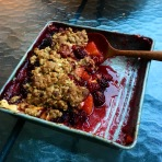 Crumble Pie made with peaches and blackberries from Fourth of July lunch
