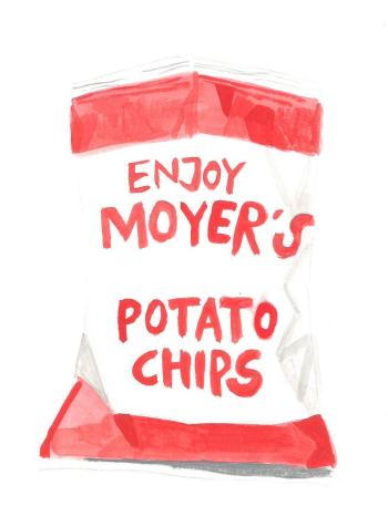 Watercolor painting potato chip bag