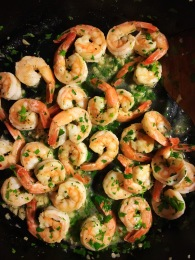Shrimp scampi with butter, lemon, and parsley