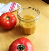 Gazpacho soup with olive oil served in a mason jar