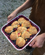 Peach and blackberry cobbler with buttermilk biscuits