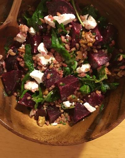 beet farro salad