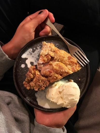 Apple Crostata dessert with vanilla ice cream